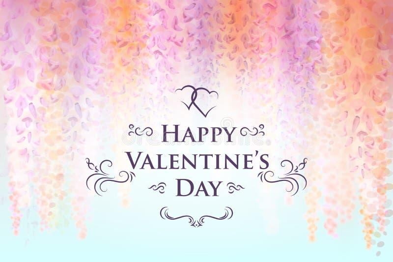 Modello della carta di giorno del ` s del biglietto di S. Valentino con i fiori delicati delle glicine di fioritura, fondo florea illustrazione vettoriale