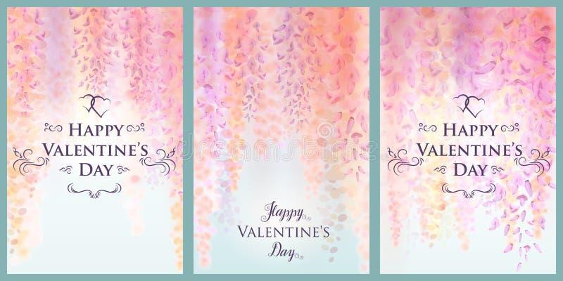 Modello della carta di giorno del ` s del biglietto di S. Valentino con i fiori delicati delle glicine di fioritura, fondo florea royalty illustrazione gratis