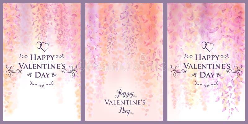 Modello della carta di giorno del ` s del biglietto di S. Valentino con i fiori delicati delle glicine di fioritura, fondo florea illustrazione di stock