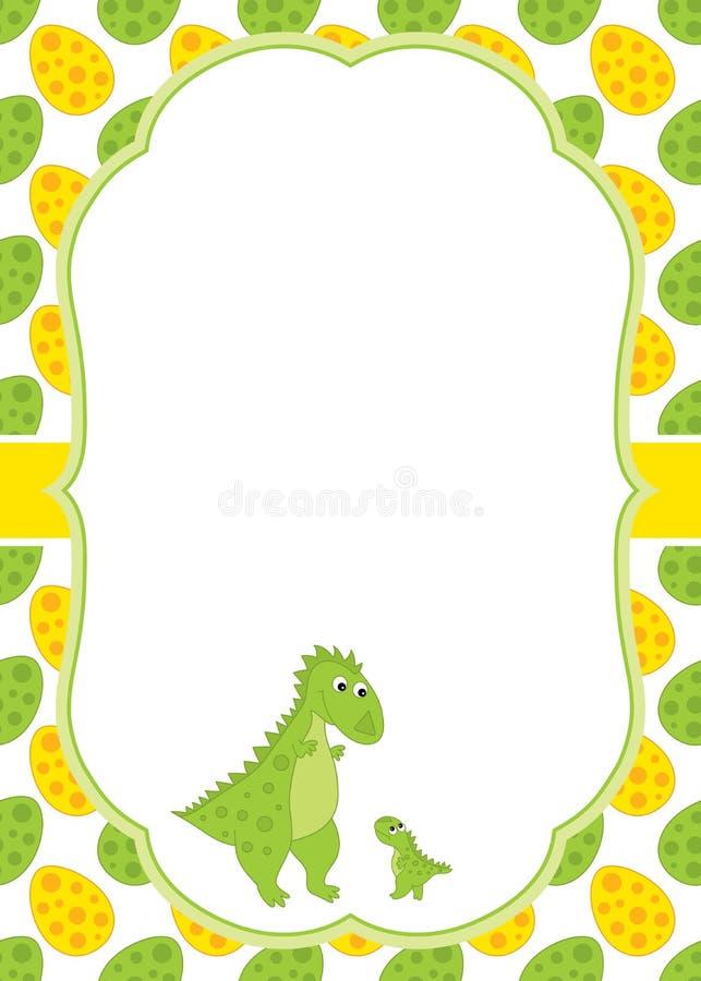 Modello della carta di vettore con i dinosauri svegli di un fumetto illustrazione di stock