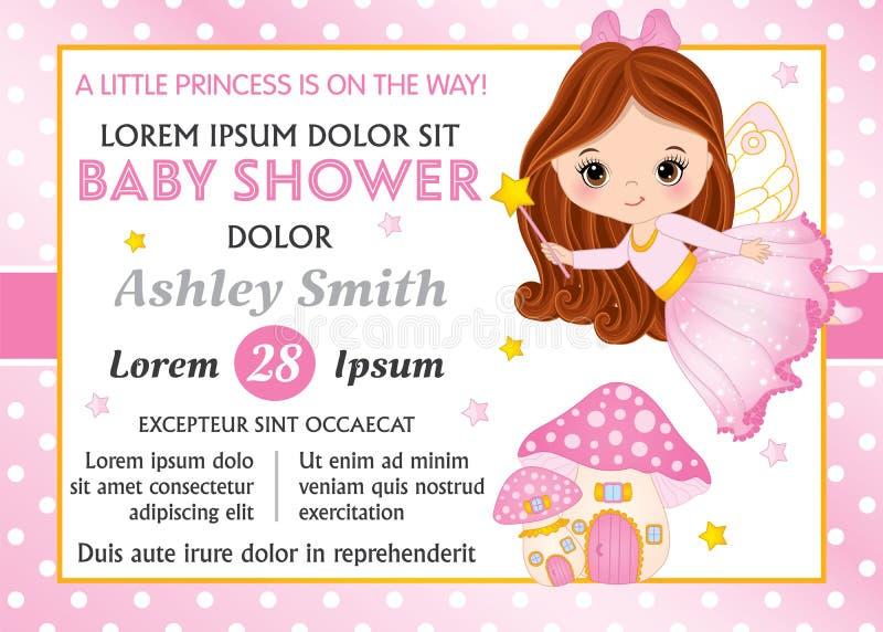 Modello della carta di vettore con il piccolo fatato ed amanita per la doccia della neonata Neonata di vettore illustrazione di stock