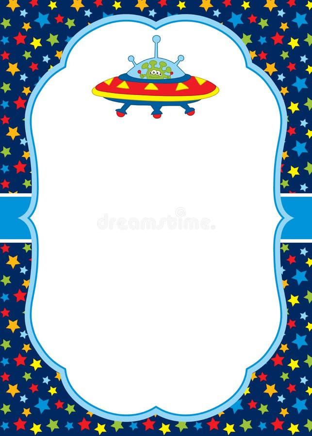 Modello della carta di vettore con uno straniero e un UFO svegli sul fondo delle stelle illustrazione vettoriale