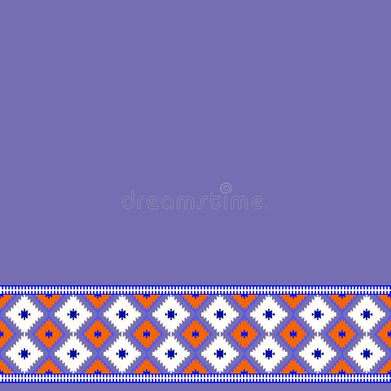 Modello della carta nella porpora turca del tappeto di stile tribale, chiaretto rosso lilla Borgogna Coperta variopinta del kilim illustrazione di stock