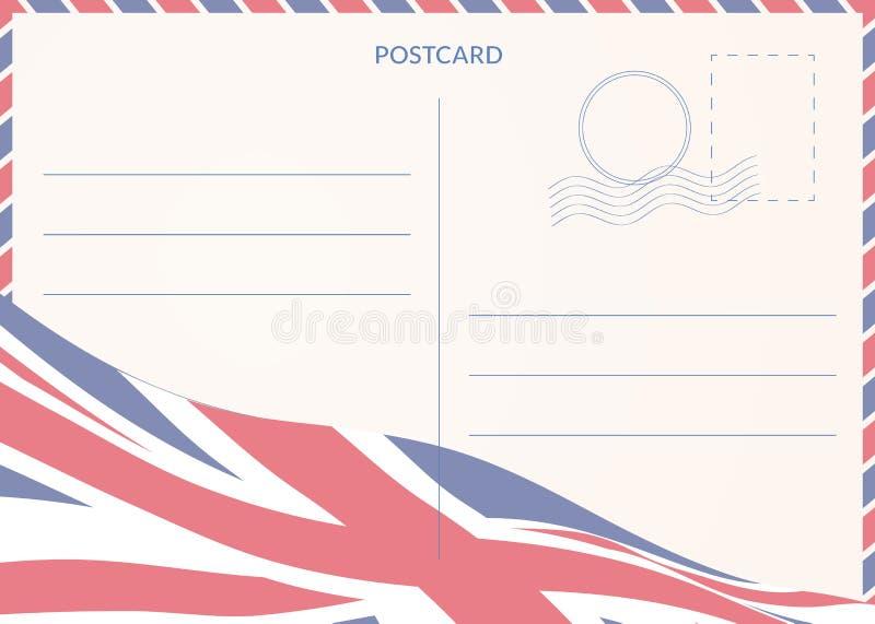 Modello della cartolina con la bandiera del Regno Unito illustrazione vettoriale