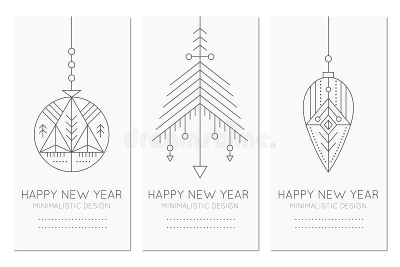 Modello della cartolina d'auguri del buon anno con le decorazioni d'attaccatura illustrazione di stock