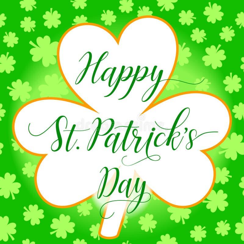 Modello della cartolina d'auguri del giorno di St Patrick felice con la foglia del trifoglio ed il fondo delle foglie dell'acetos illustrazione vettoriale