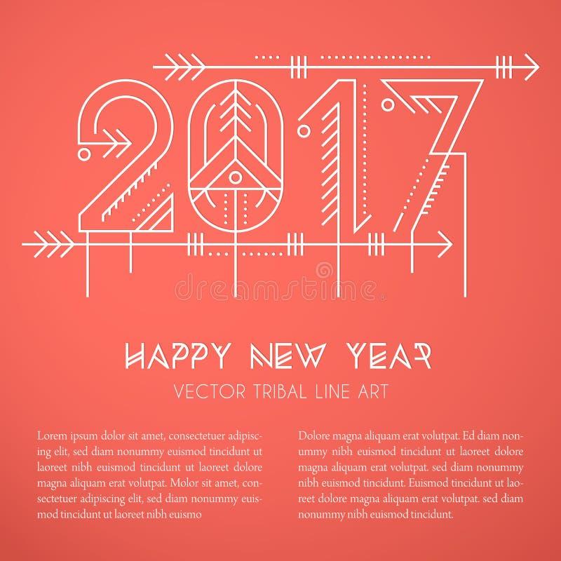 Modello della cartolina d'auguri del nuovo anno con il segno decorato 2017 illustrazione di stock