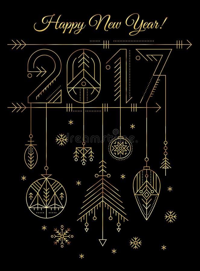 Modello della cartolina d'auguri del nuovo anno con il segno 2017 e le decorazioni illustrazione vettoriale
