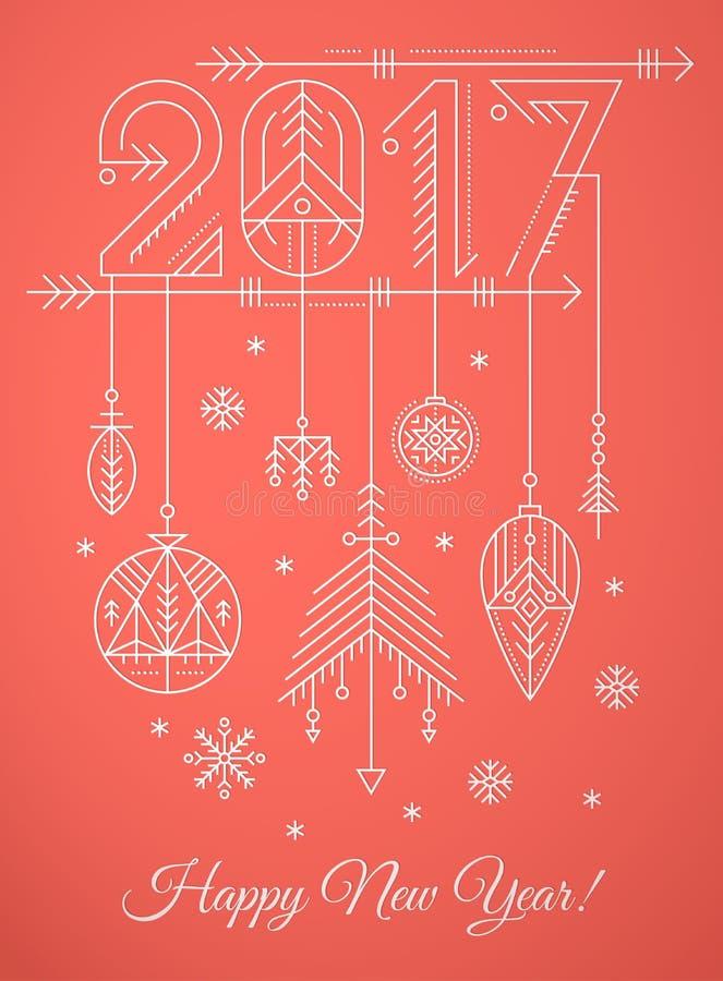 Modello della cartolina d'auguri del nuovo anno con il segno 2017 e le decorazioni royalty illustrazione gratis