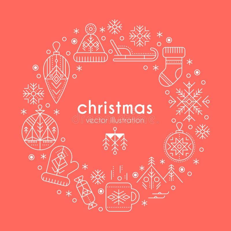 Modello della cartolina d'auguri di Natale con i segni descritti che formano un anello illustrazione di stock