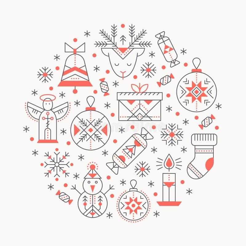 Modello della cartolina d'auguri di Natale con i segni descritti che formano un cerchio illustrazione vettoriale