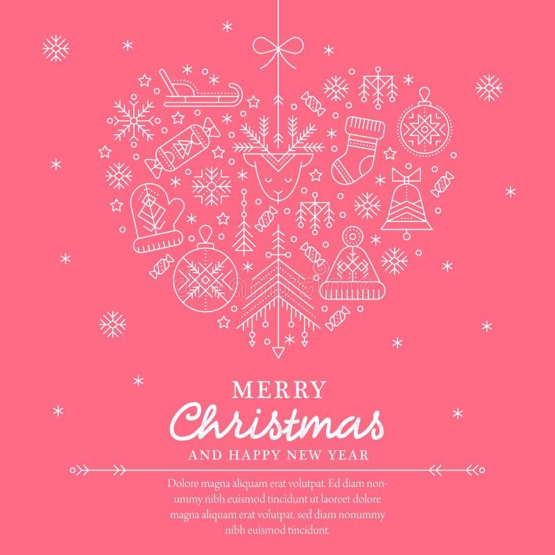 Modello della cartolina d'auguri di Natale - illustrazione heartshaped descritta royalty illustrazione gratis