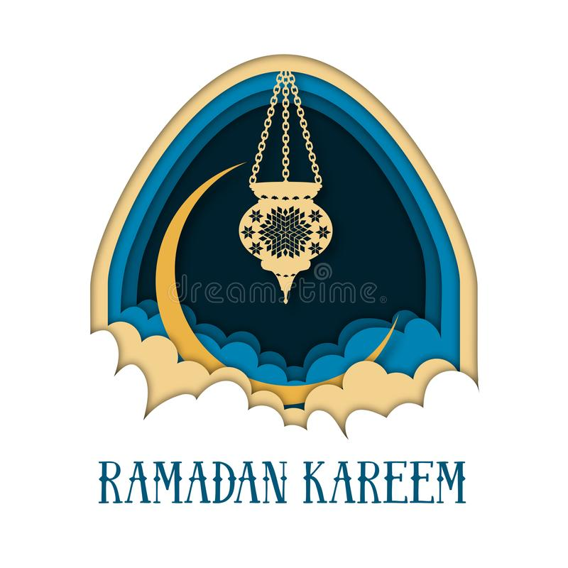 Modello della cartolina d'auguri di Ramadan Kareem con l'arco, la luna, la lanterna, le nuvole ed il testo illustrazione di stock
