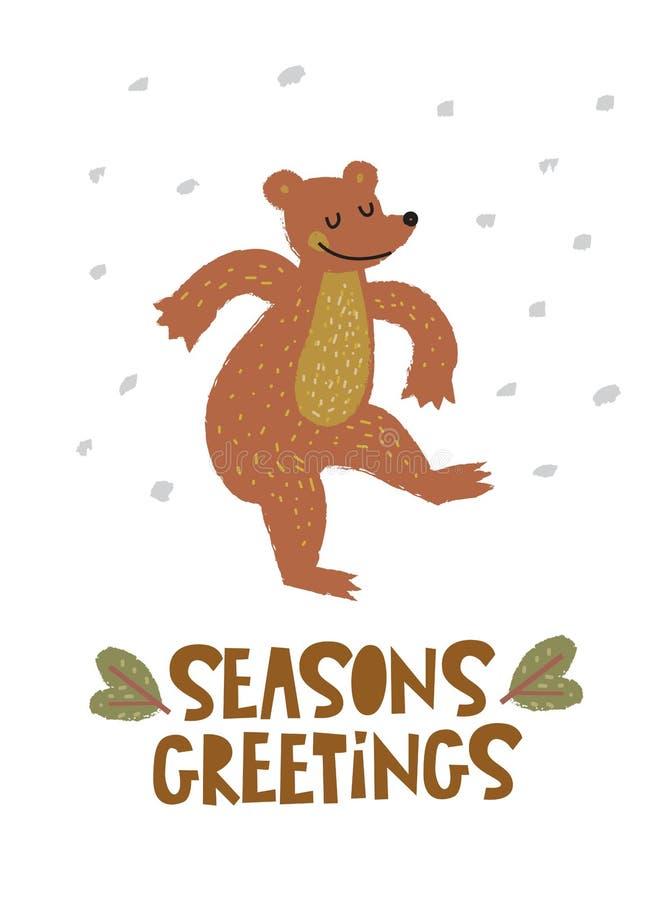 Modello della cartolina d'auguri di stagioni illustrazione di stock