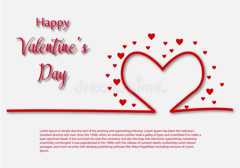 Modello della cartolina d'auguri di Valentine Day, progettazione con cuore rosso, concetto di celebrazione di giorno di S. Valent fotografia stock