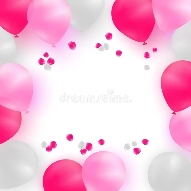 Modello della cartolina d'auguri per nozze, compleanno, giorno di madri Palloni bianchi e rosa su fondo bianco con i petali rosa illustrazione vettoriale