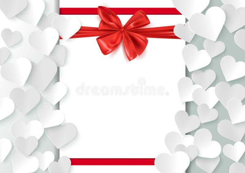 Modello della cartolina di amore, fondo del biglietto di S. Valentino con spazio per il messaggio e cuori di carta, illustrazione illustrazione di stock