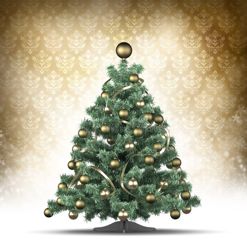 Modello della cartolina di Natale - albero di natale illustrazione vettoriale