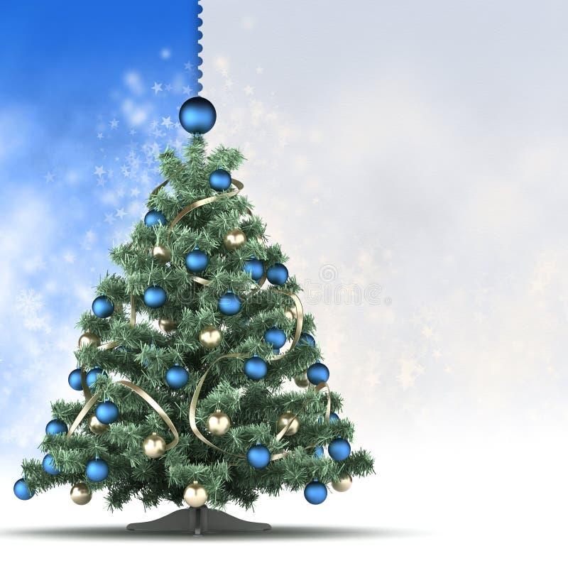 Modello della cartolina di Natale - albero e spazio di natale per testo illustrazione di stock