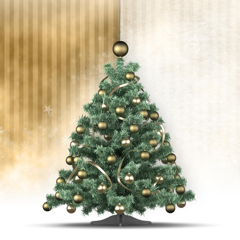 Modello della cartolina di Natale - albero e spazio per testo illustrazione di stock