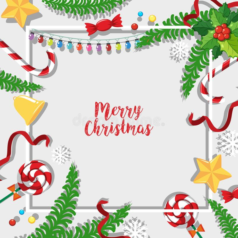 Modello della cartolina di Natale con gli ornamenti ed i vischi illustrazione di stock