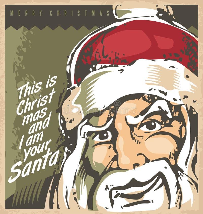 Modello della cartolina di Natale con Santa illustrazione di stock