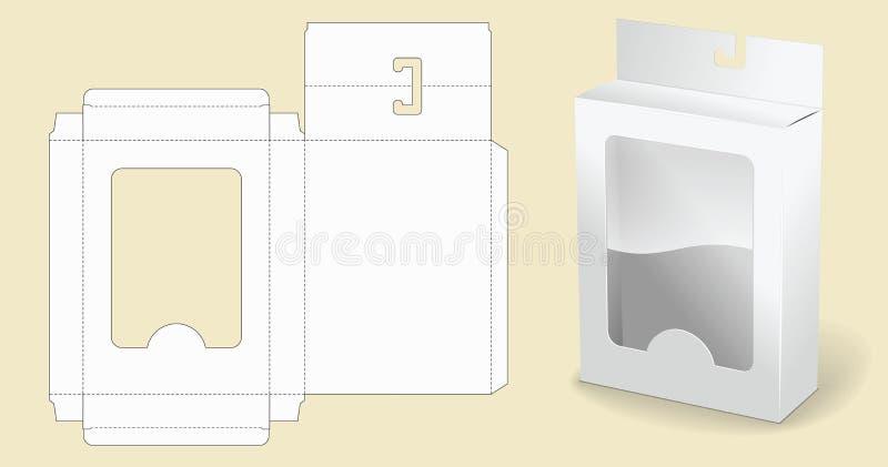 Modello della casella imballaggio Scatola di cartone bianca Contenitore bianco aperto di pacchetto del cartone illustrazione vettoriale