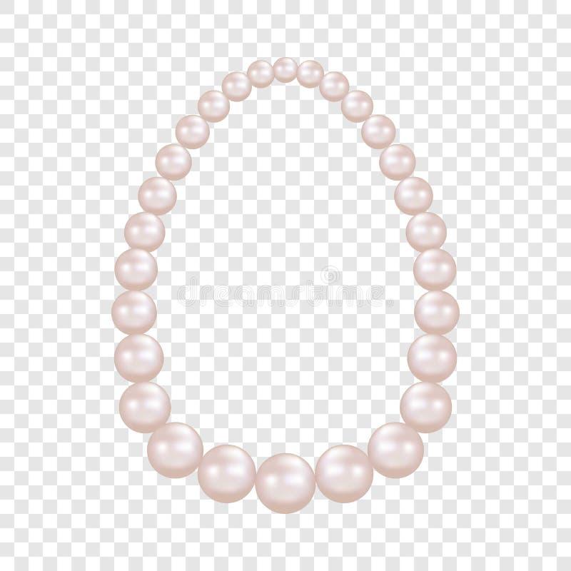 Modello della collana della perla, stile realistico illustrazione di stock