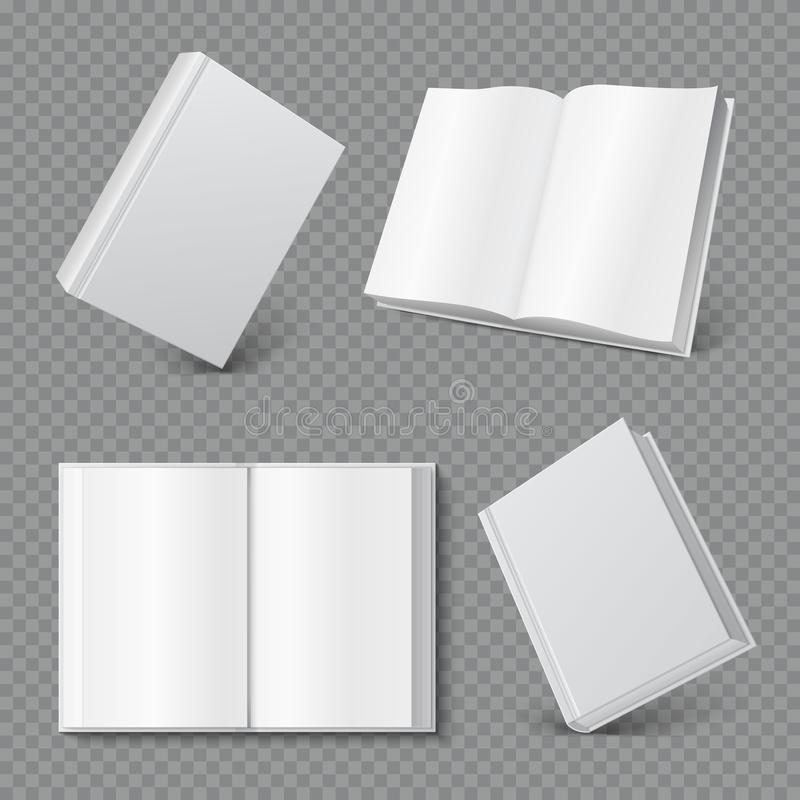 Modello della copertina di libro Copertura in bianco realistica del libretto, superficie bianca dell'opuscolo, derisione vuota de royalty illustrazione gratis