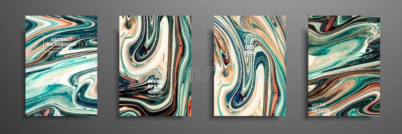 Modello della disposizione dell'aletta di filatoio con la miscela delle pitture acriliche Struttura di marmo liquida Arte fluida  royalty illustrazione gratis