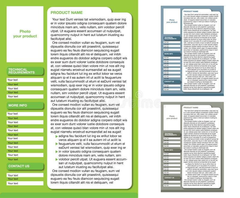 Modello della disposizione della rivista (3 pagine di colore) illustrazione di stock