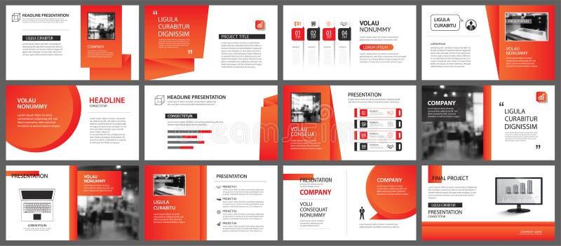 Modello della disposizione dello scorrevole e di presentazione Pendenza rossa ed arancio di progettazione nel fondo di forma dell illustrazione di stock