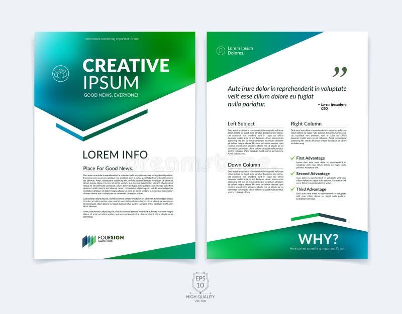 Modello della disposizione di progettazione dell'opuscolo, dell'aletta di filatoio e della copertura di affari con la b illustrazione vettoriale