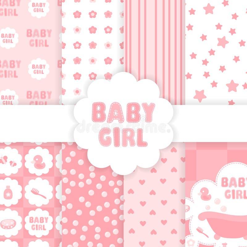 Modello della doccia della neonata - simboli rosa illustrazione vettoriale