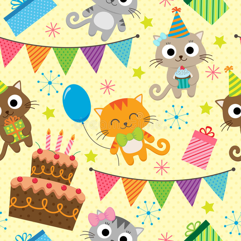 Modello della festa di compleanno con i gatti illustrazione vettoriale