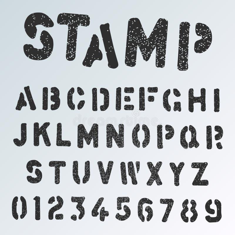 Modello della fonte di alfabeto del bollo Le lettere ed i numeri di lerciume riproducono a ciclostile la progettazione illustrazione di stock