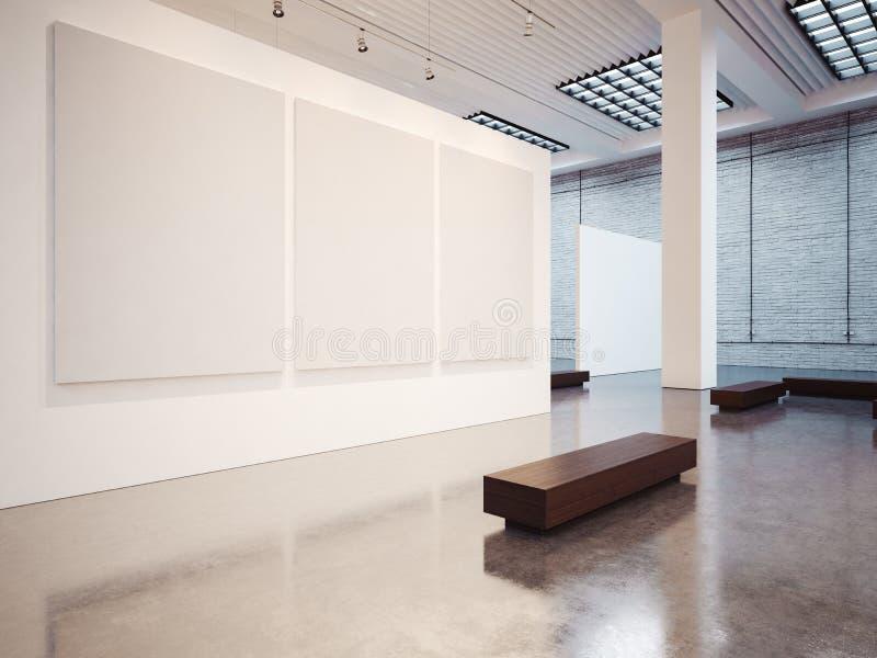Modello della galleria vuota con il banco 3d rendono fotografie stock libere da diritti