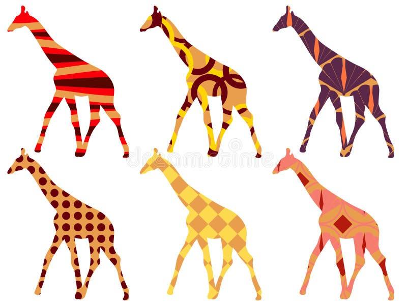 Modello della giraffa Giraffa nello stile etnico Insieme delle giraffe royalty illustrazione gratis