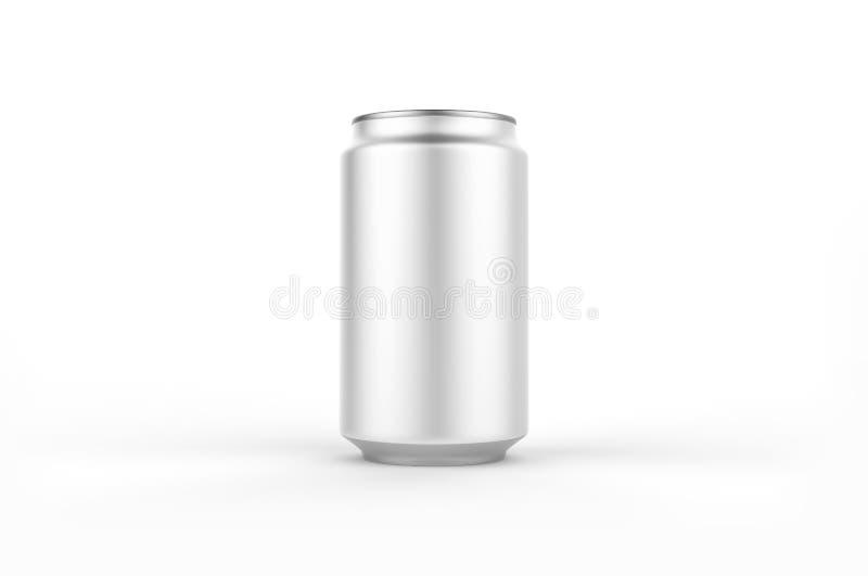 Modello della latta di alluminio isolato su fondo derisione di alluminio della soda della latta 330ml su illustrazione di stock