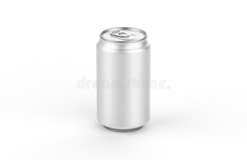 Modello della latta di alluminio isolato su fondo derisione di alluminio della soda della latta 330ml su fotografia stock