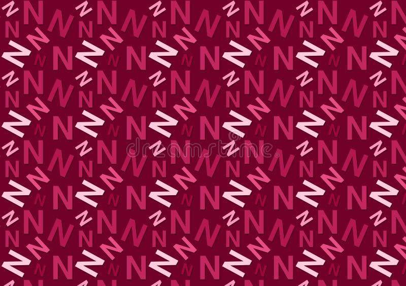 Modello della lettera N in tonalità rosa colorate differenti per la carta da parati immagini stock