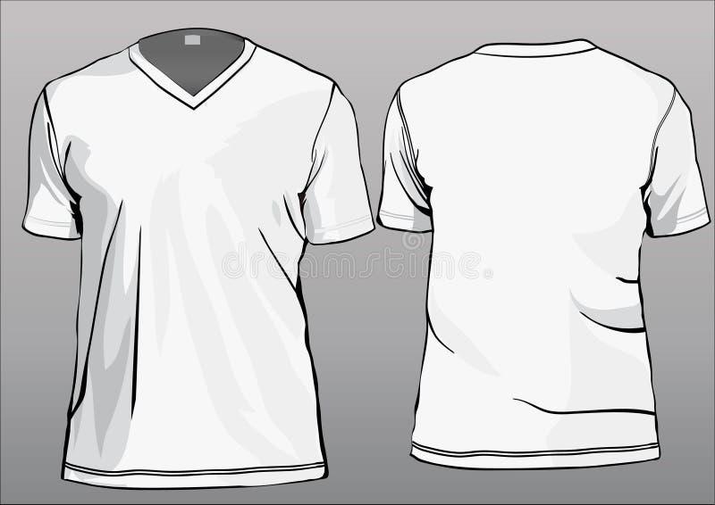Modello della maglietta con il V-collo illustrazione di stock