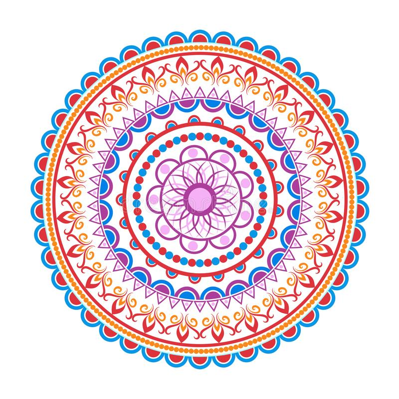 Modello della mandala del cerchio Ornamento rotondo decorativo Logo di yoga, fondo per il manifesto di meditazione royalty illustrazione gratis