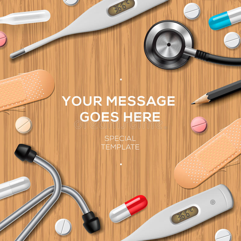 Modello della medicina e di sanità, rifornimenti medici illustrazione di stock