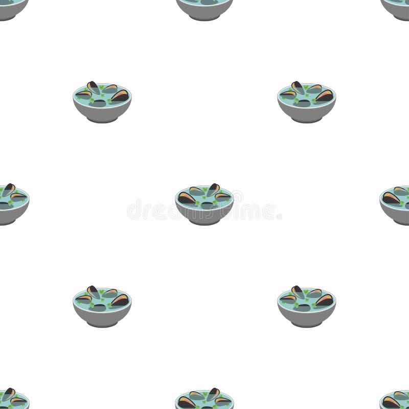 Modello della minestra della vongola senza cuciture Fondo giapponese dei frutti di mare struttura di vettore della ciotola delle  illustrazione vettoriale