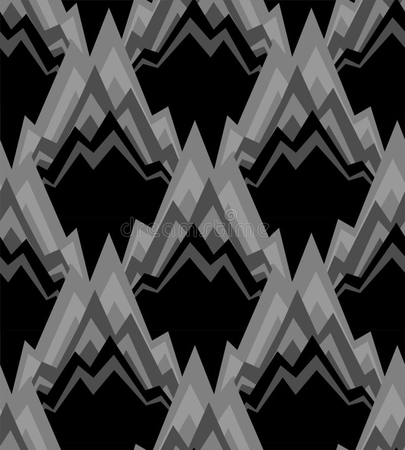 Modello della montagna senza cuciture Oscilla il fondo Ornamento nero della roccia royalty illustrazione gratis