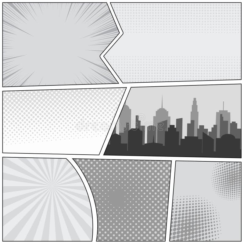 Modello della pagina del libro di fumetti illustrazione vettoriale