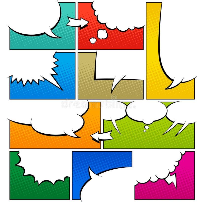 Modello della pagina del libro di fumetti di colore illustrazione vettoriale