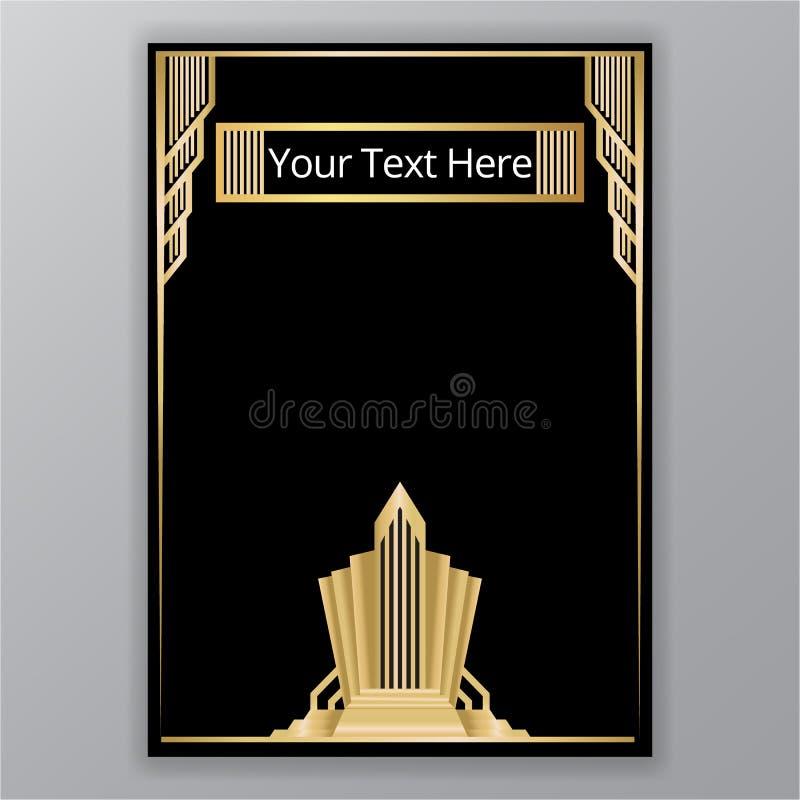 Modello della pagina di art deco, modello geometrico bianco nero dorato del triangolo, retro struttura Stampa e web design, manif royalty illustrazione gratis