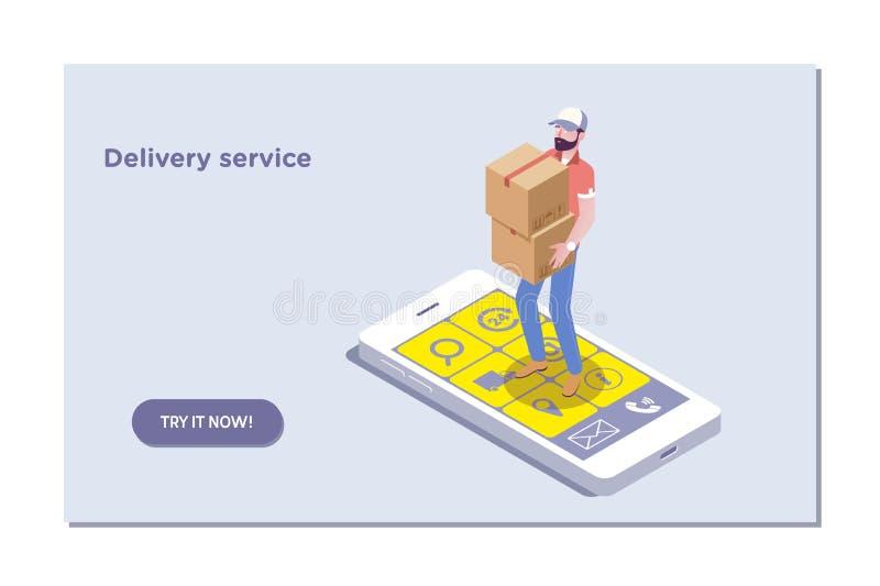 Modello della pagina di atterraggio della consegna veloce Fondo isometrico di acquisto di concetto online di commercio elettronic illustrazione di stock